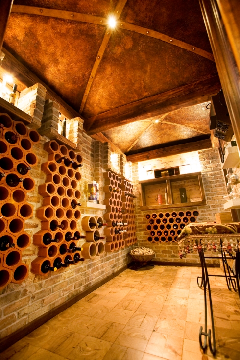 Wine Cellar with faux copper ceiling