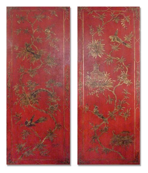 antique red chinoiserie panels